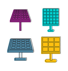 solar energy icon set color outline style vector image