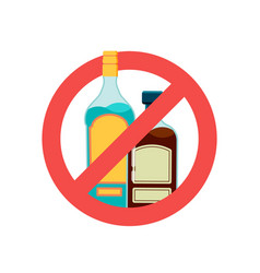 stop alcohol sign alcoholic drink beer in red vector image