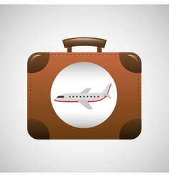 suitcase vintage travel airplane concept design vector image