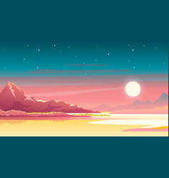 Sunset in mountains landscape background vector
