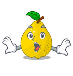 surprised ripe yellow quince fruit on mascot vector image