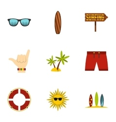 Swimming on surfboard icons set flat style vector