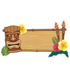 Tiki mask and wooden frame for text vector