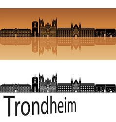 Trondheim skyline in orange vector