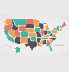 Usa map with modern round shapes vector