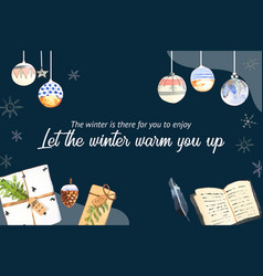 Winter home frame design with book feather vector