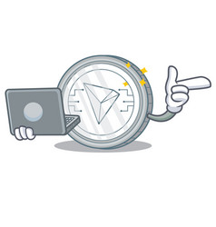 With laptop tron coin character cartoon vector