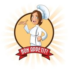Woman girl chef kitchen restaurant design vector