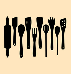 wooden spoons rolling pin and spatulas silhouette vector image