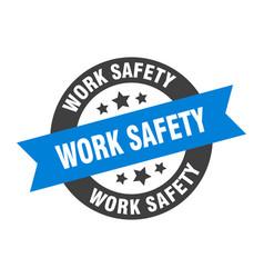 Work safety sign work safety blue-black round vector