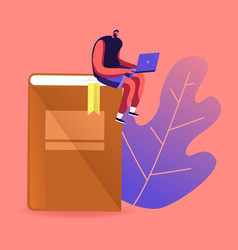 young male character studying sitting on huge book vector image