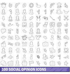 100 social opinion icons set outline style vector image
