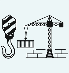 Crane working and hook of a crane vector image vector image