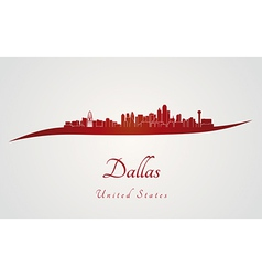Dallas skyline in red vector image vector image
