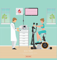 ecg test or exercise test for heart disease on vector image