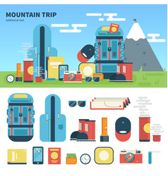 Equipment for mountain trip vector
