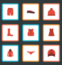 flat icons waistcoat hat swimming trunk and vector image
