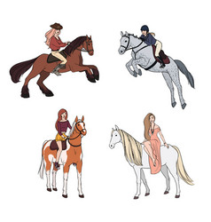 set of woman riding a horse in various poses vector image vector image
