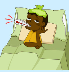 sick african american boy lying on the bed vector image