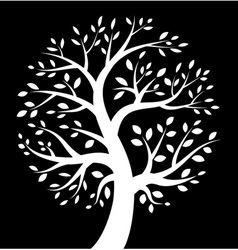 White Tree icon on black background vector image vector image