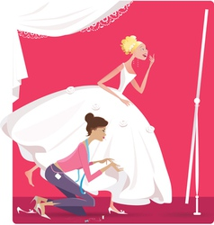 Bride fitting a dress vector image vector image