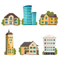 flat design modern city houses vector image vector image
