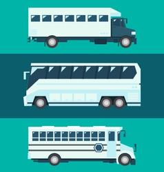 Flat design of passenger bus set vector image vector image