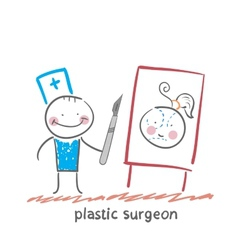 plastic surgeon with a scalpel gives a vector image vector image
