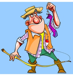 cartoon man caught with a fishing rod sock vector image