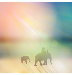 Elephant with mahout and small elephant silhouette vector image