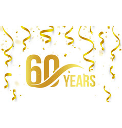 isolated golden color number 60 with word years vector image vector image