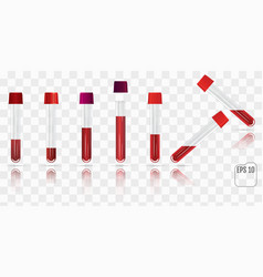 set of blood collection tube test tubes filled vector image