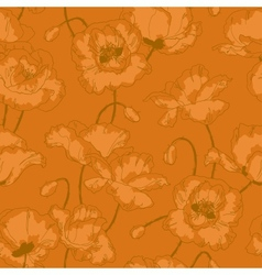 Vintage seamless pattern with poppy flowers vector image