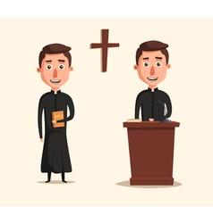Young catholic priest Cartoon vector image