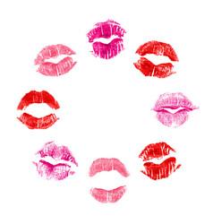 8 imprints of lipstick vector image vector image