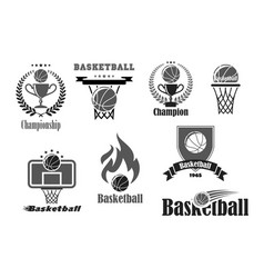 basketball championship award icons set vector image