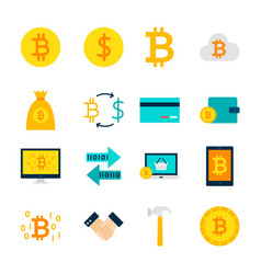 Currency bitcoin objects vector