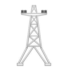 Electric line tower icon gray monochrome style vector image vector image