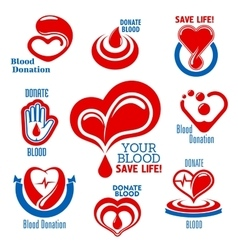 Hearts blood drops hand icons for medical design vector image