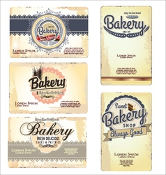 Set of 5 bakery business card templates vector