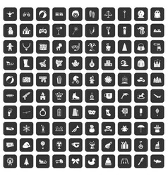 100 children icons set black vector image