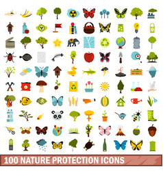 100 nature protection icons set flat style vector image