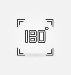 180 degrees in square outline icon - angle vector