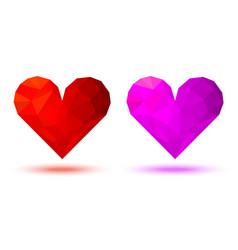 3d geometric heart icon triangular heart logo vector image