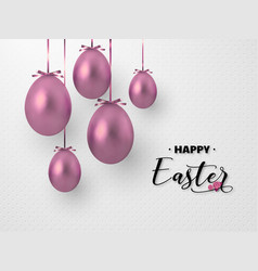 3d metallic rose golden eggs hanging foil bow vector image