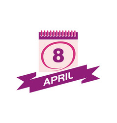 8 april calendar with ribbon vector