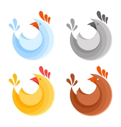 A collection of farm chicken icons vector image