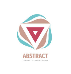 Abstract triangle with leaves - concept logo vector