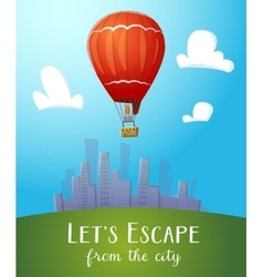 Aeronautics hot air balloon flying over cityline vector