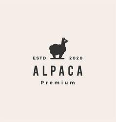 Alpaca hipster vintage logo icon vector